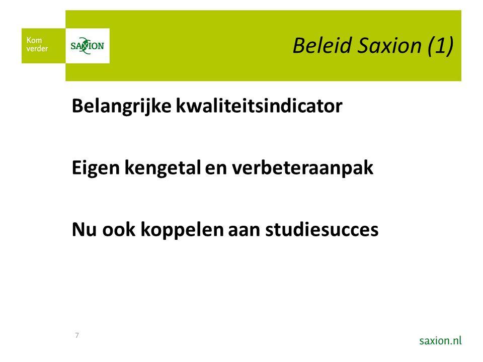 Beleid Saxion (1) Belangrijke kwaliteitsindicator Eigen kengetal en verbeteraanpak Nu ook koppelen aan studiesucces