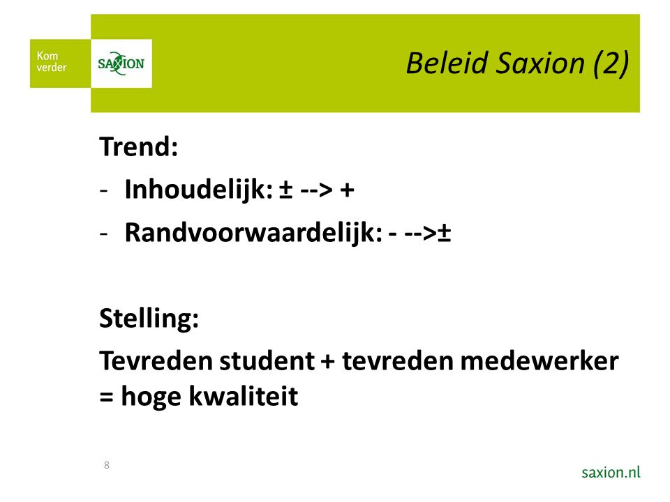 Beleid Saxion (2) Trend: Inhoudelijk: ± --> +