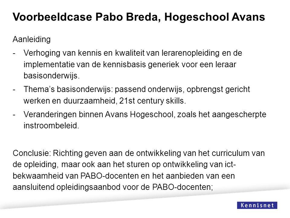 Voorbeeldcase Pabo Breda, Hogeschool Avans