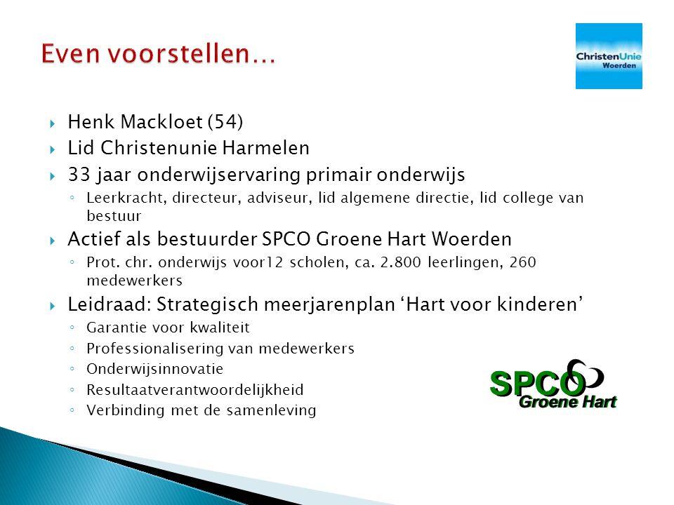 Even voorstellen… Henk Mackloet (54) Lid Christenunie Harmelen