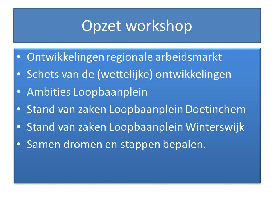 Opzet workshop Ontwikkelingen regionale arbeidsmarkt