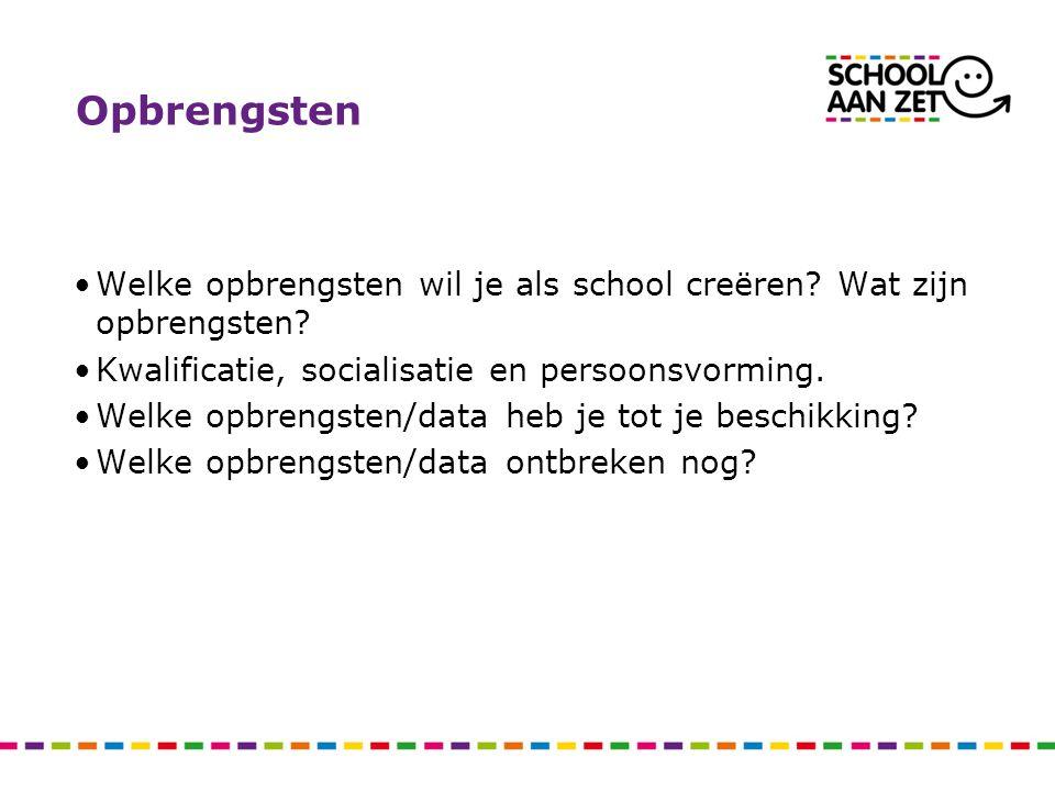 Opbrengsten Welke opbrengsten wil je als school creëren Wat zijn opbrengsten Kwalificatie, socialisatie en persoonsvorming.