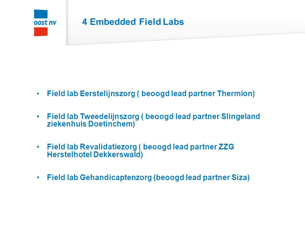 4 Embedded Field Labs Field lab Eerstelijnszorg ( beoogd lead partner Thermion)