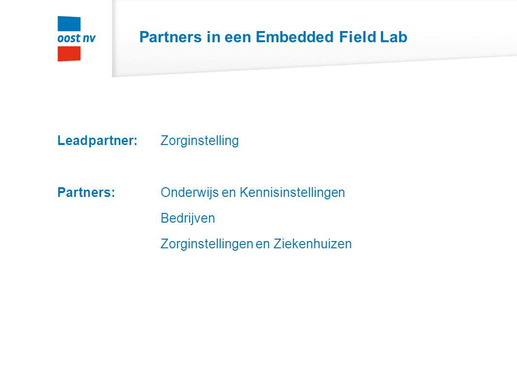 Partners in een Embedded Field Lab