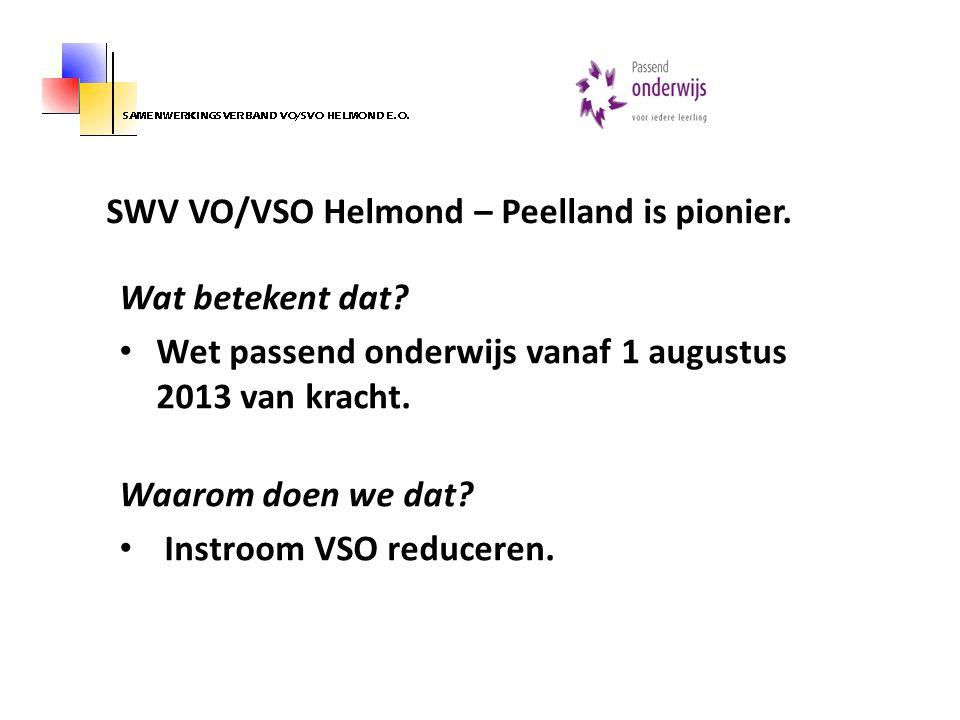 SWV VO/VSO Helmond – Peelland is pionier.