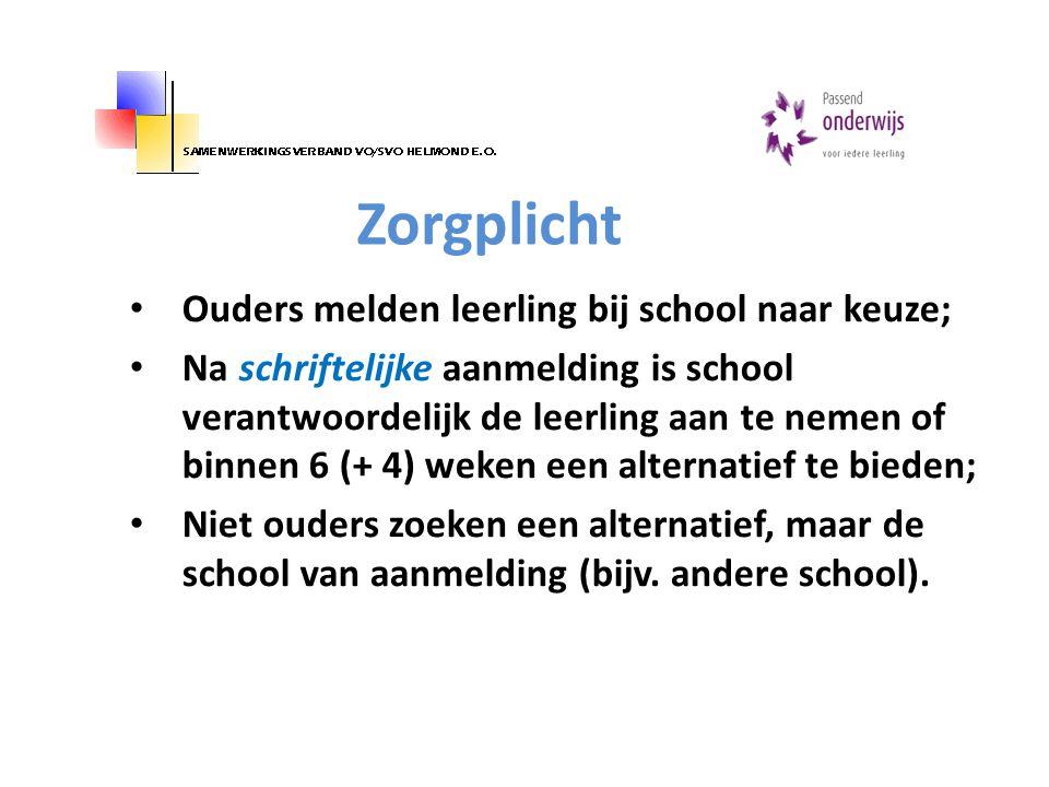 Zorgplicht Ouders melden leerling bij school naar keuze;
