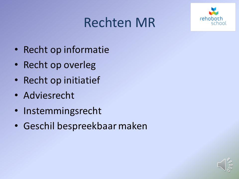Rechten MR Recht op informatie Recht op overleg Recht op initiatief