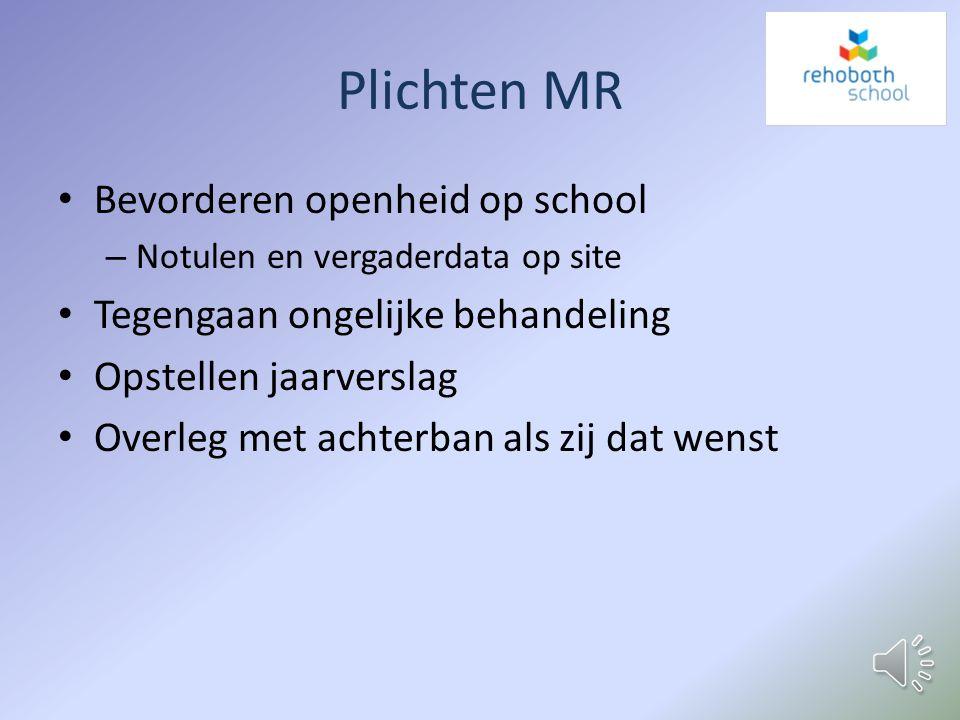 Plichten MR Bevorderen openheid op school