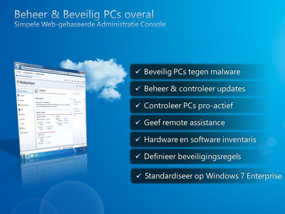 Beheer & Beveilig PCs overal Simpele Web-gebaseerde Administratie Console