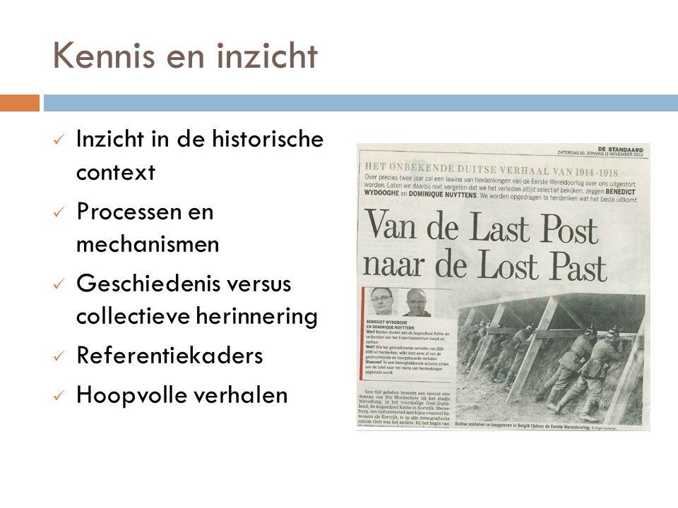 Kennis en inzicht Inzicht in de historische context
