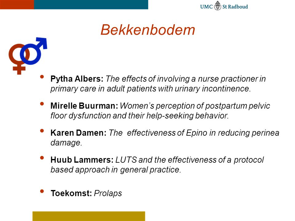 Bekkenbodem Pytha Albers: The effects of involving a nurse practioner in primary care in adult patients with urinary incontinence.