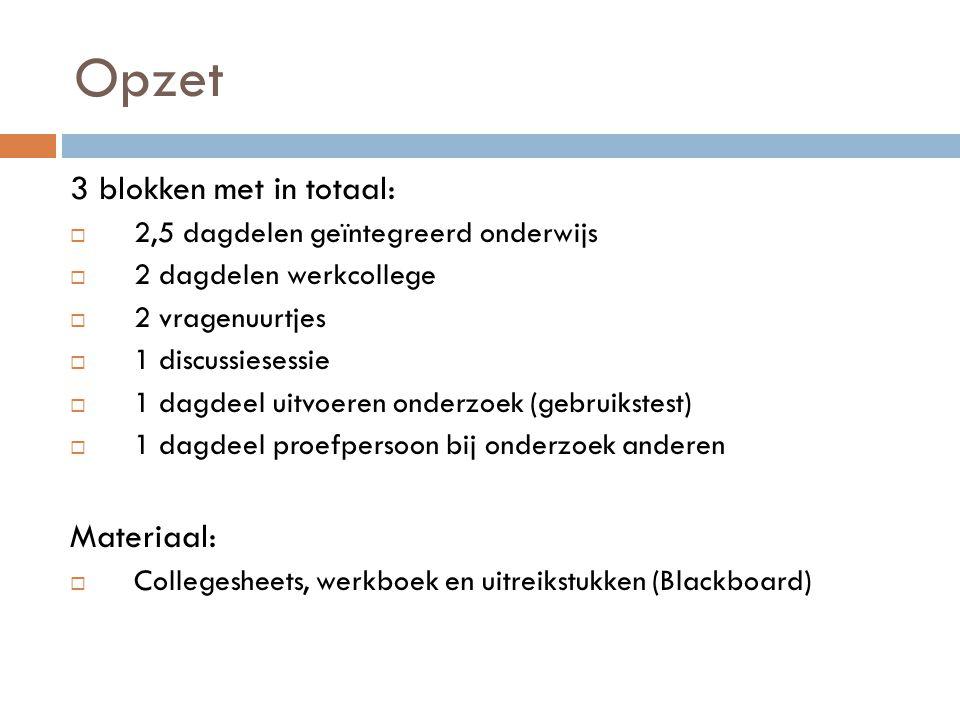 Opzet 3 blokken met in totaal: Materiaal: