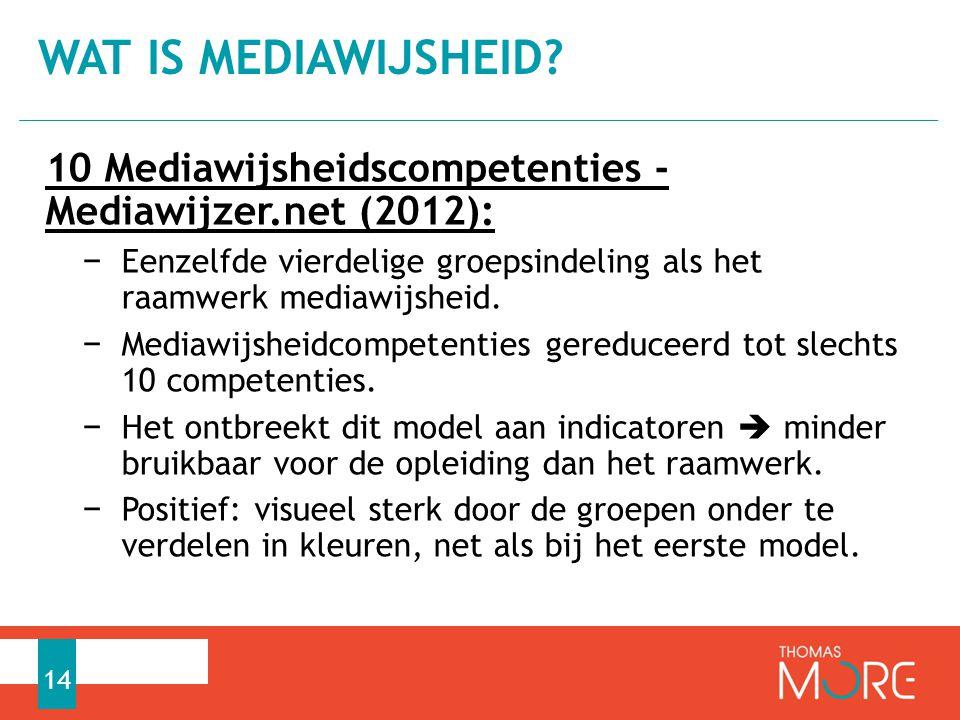 Wat is mediawijsheid 10 Mediawijsheidscompetenties - Mediawijzer.net (2012):
