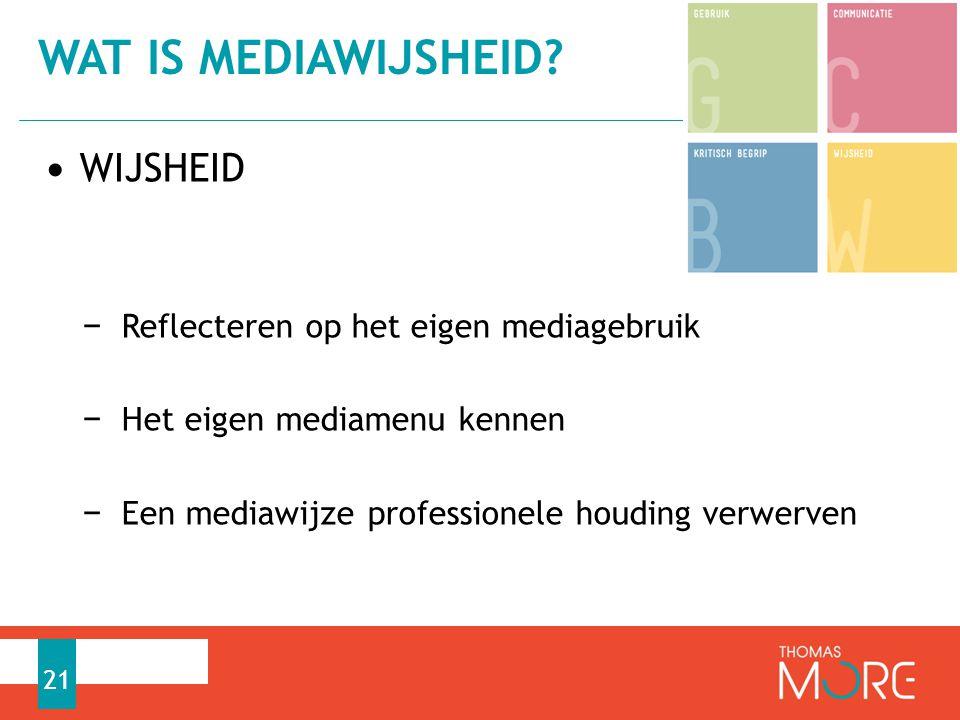 Wat is mediawijsheid WIJSHEID Reflecteren op het eigen mediagebruik