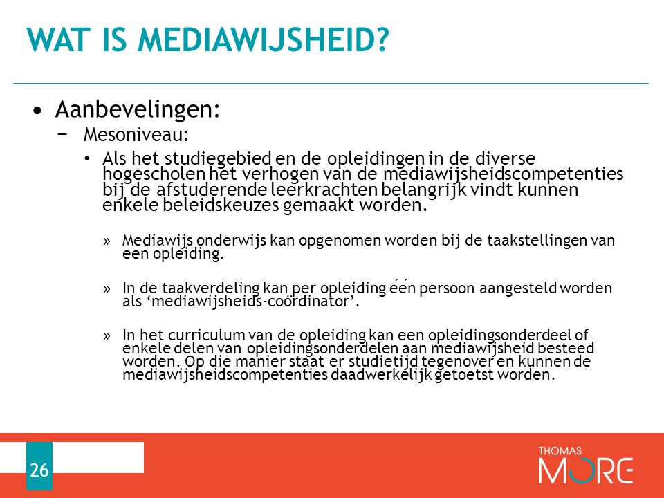 Wat is mediawijsheid Aanbevelingen: Mesoniveau: