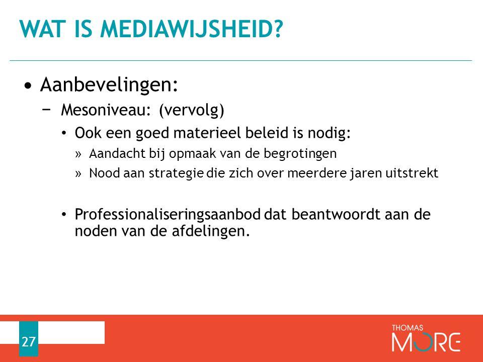 Wat is mediawijsheid Aanbevelingen: Mesoniveau: (vervolg)