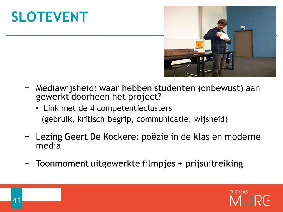 Slotevent Mediawijsheid: waar hebben studenten (onbewust) aan gewerkt doorheen het project Link met de 4 competentieclusters.