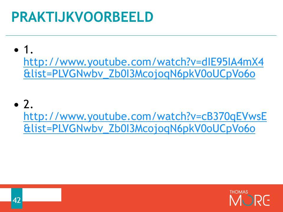 PRaktijkvoorbeeld 1. http://www.youtube.com/watch v=dIE95IA4mX4 &list=PLVGNwbv_Zb0I3McojoqN6pkV0oUCpVo6o.
