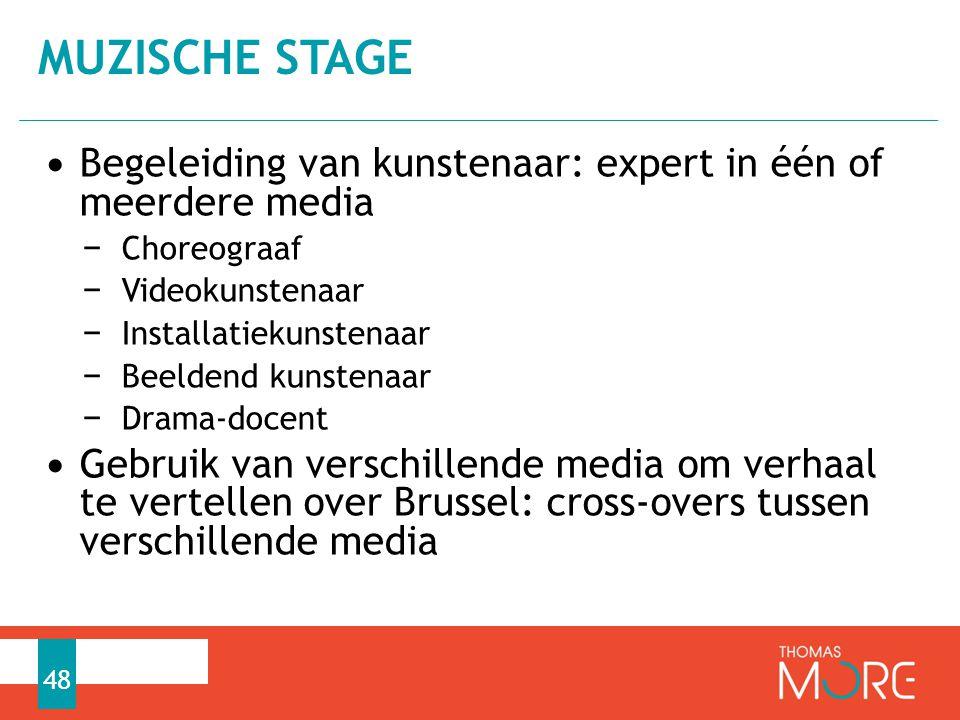 MUZISCHE STAGE Begeleiding van kunstenaar: expert in één of meerdere media. Choreograaf. Videokunstenaar.