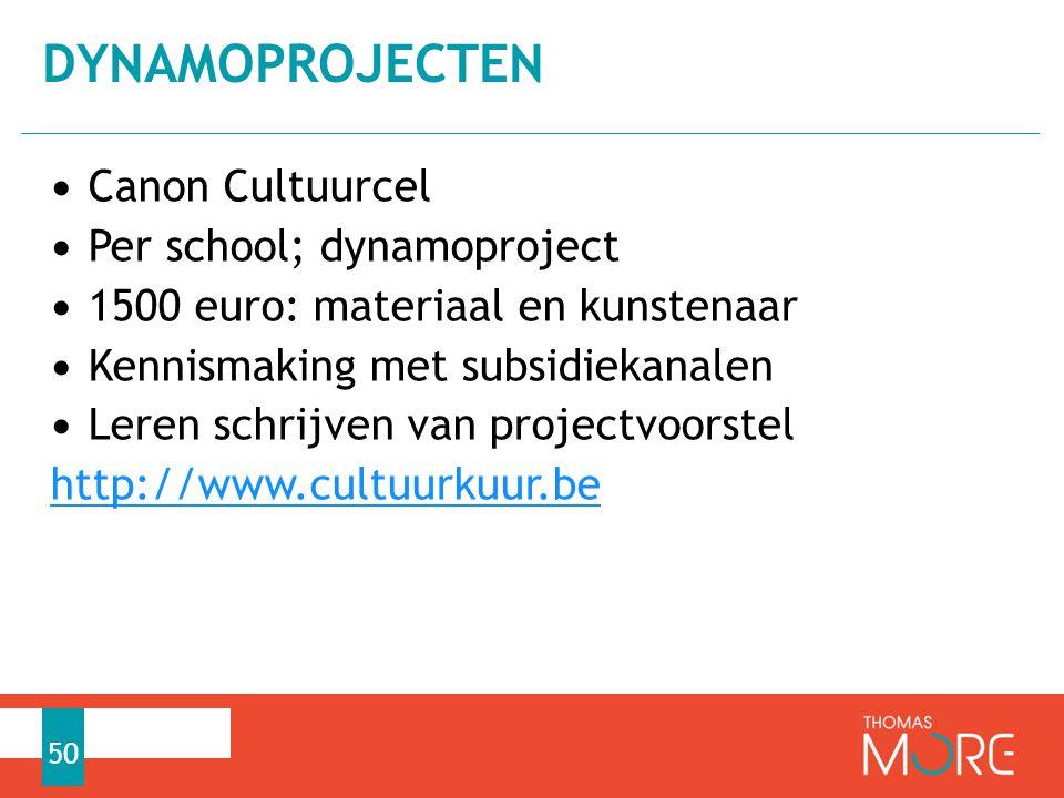 Dynamoprojecten Canon Cultuurcel Per school; dynamoproject