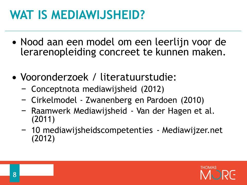 Wat is mediawijsheid Nood aan een model om een leerlijn voor de lerarenopleiding concreet te kunnen maken.