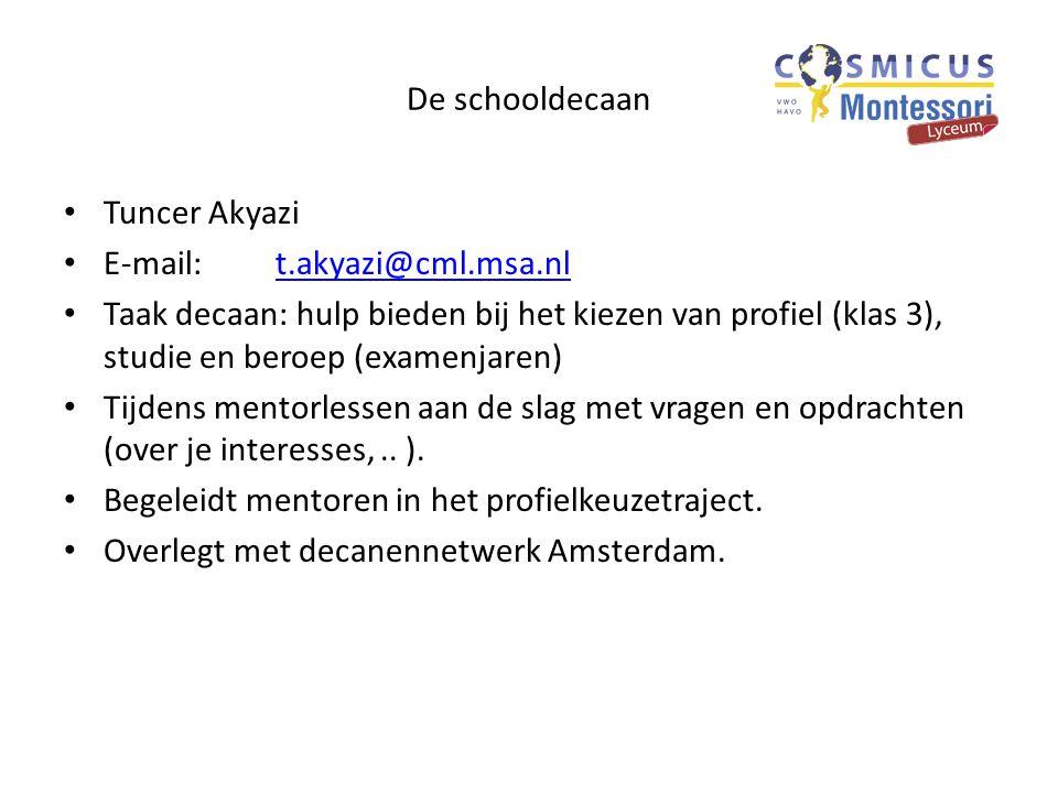 De schooldecaan Tuncer Akyazi. E-mail: t.akyazi@cml.msa.nl.