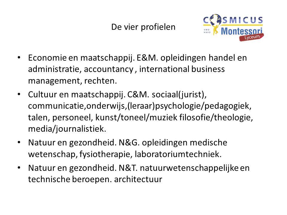 De vier profielen Economie en maatschappij. E&M. opleidingen handel en administratie, accountancy , international business management, rechten.