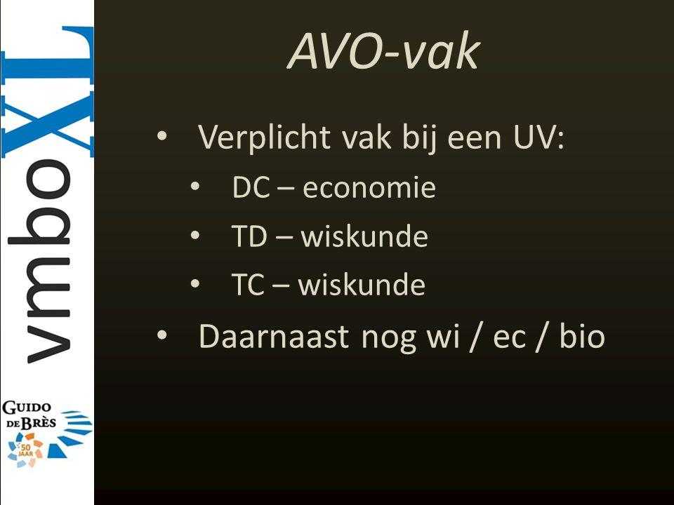 AVO-vak Verplicht vak bij een UV: Daarnaast nog wi / ec / bio
