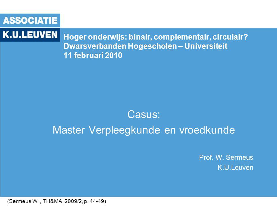 Casus: Master Verpleegkunde en vroedkunde Prof. W. Sermeus K.U.Leuven