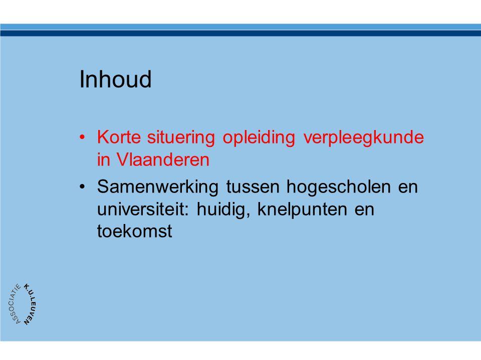 Inhoud Korte situering opleiding verpleegkunde in Vlaanderen