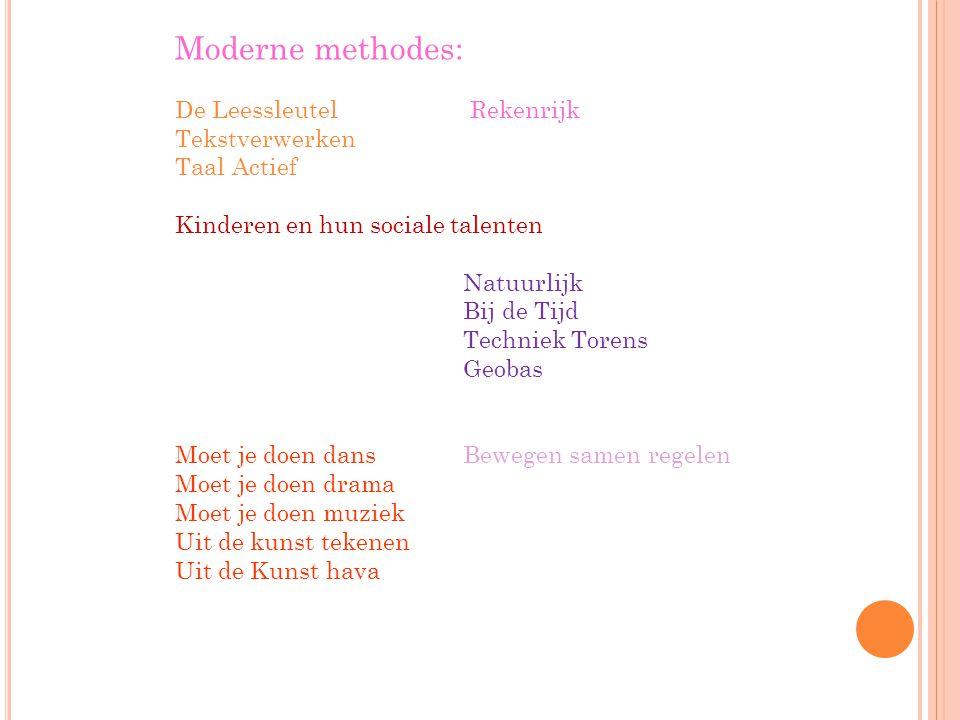 Moderne methodes: De Leessleutel Rekenrijk Tekstverwerken Taal Actief