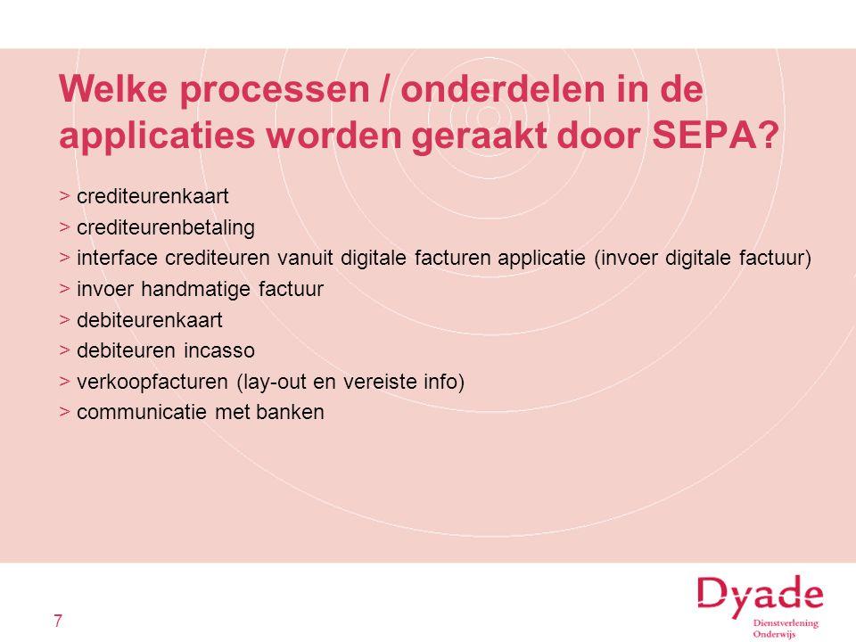 Welke processen / onderdelen in de applicaties worden geraakt door SEPA