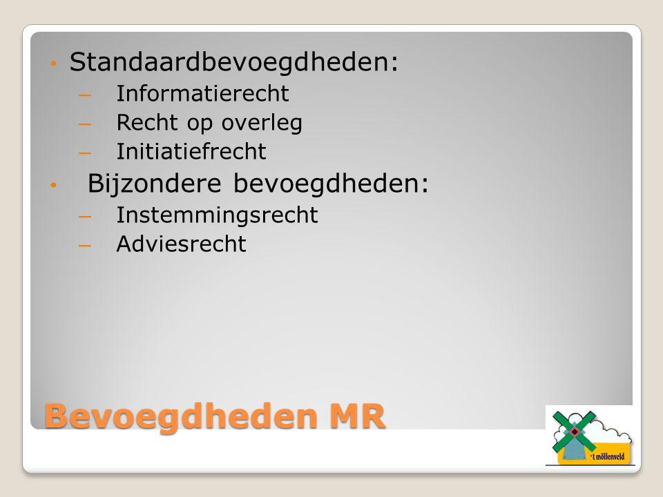 Bevoegdheden MR Standaardbevoegdheden: Bijzondere bevoegdheden: