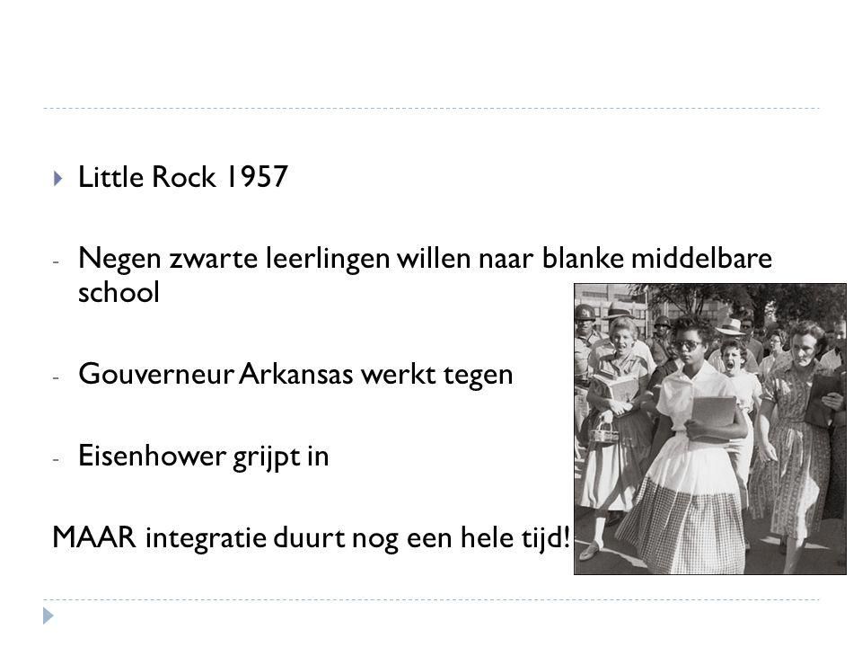 Little Rock 1957 Negen zwarte leerlingen willen naar blanke middelbare school. Gouverneur Arkansas werkt tegen.