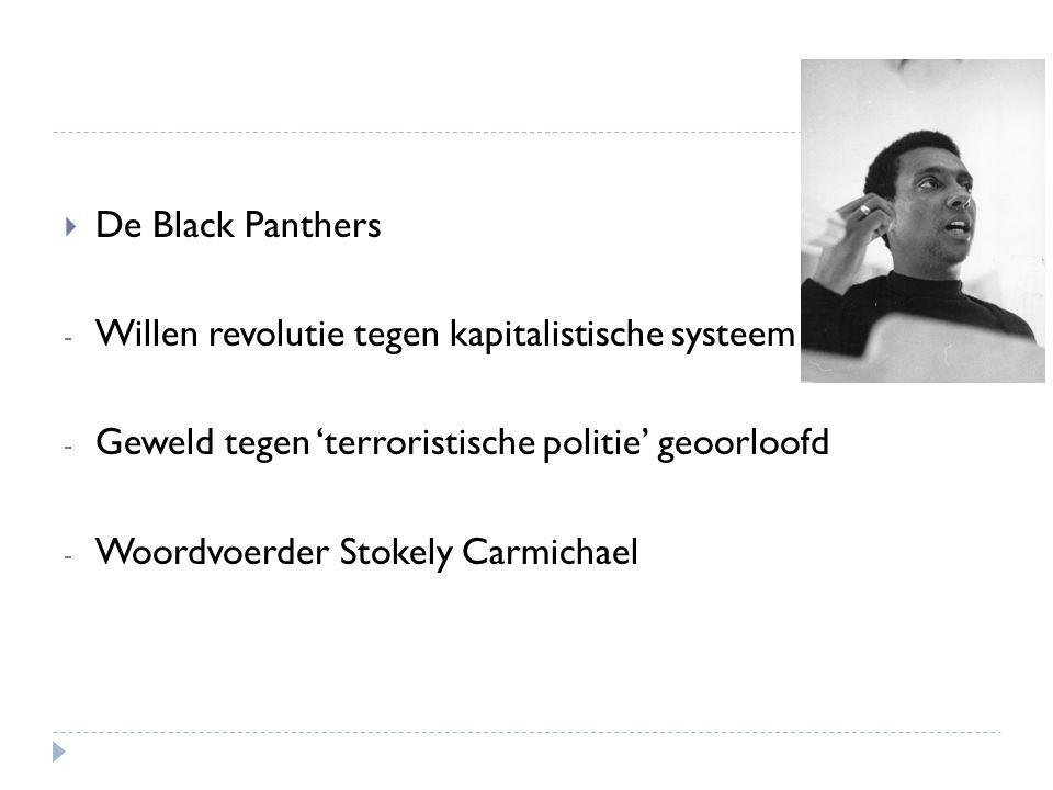 De Black Panthers Willen revolutie tegen kapitalistische systeem. Geweld tegen 'terroristische politie' geoorloofd.