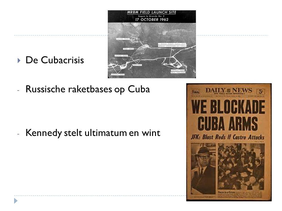 De Cubacrisis Russische raketbases op Cuba Kennedy stelt ultimatum en wint