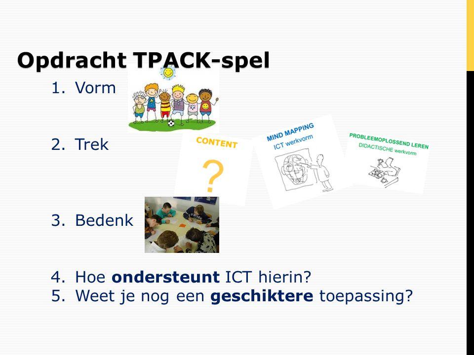 Opdracht TPACK-spel Vorm Trek Bedenk Hoe ondersteunt ICT hierin