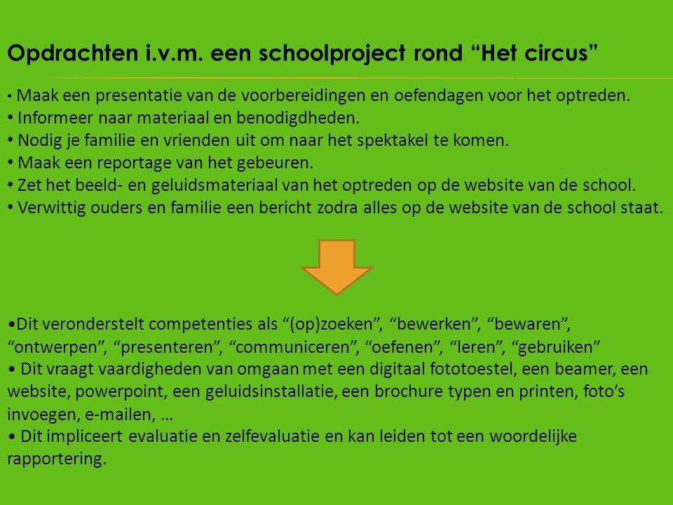 Opdrachten i.v.m. een schoolproject rond Het circus
