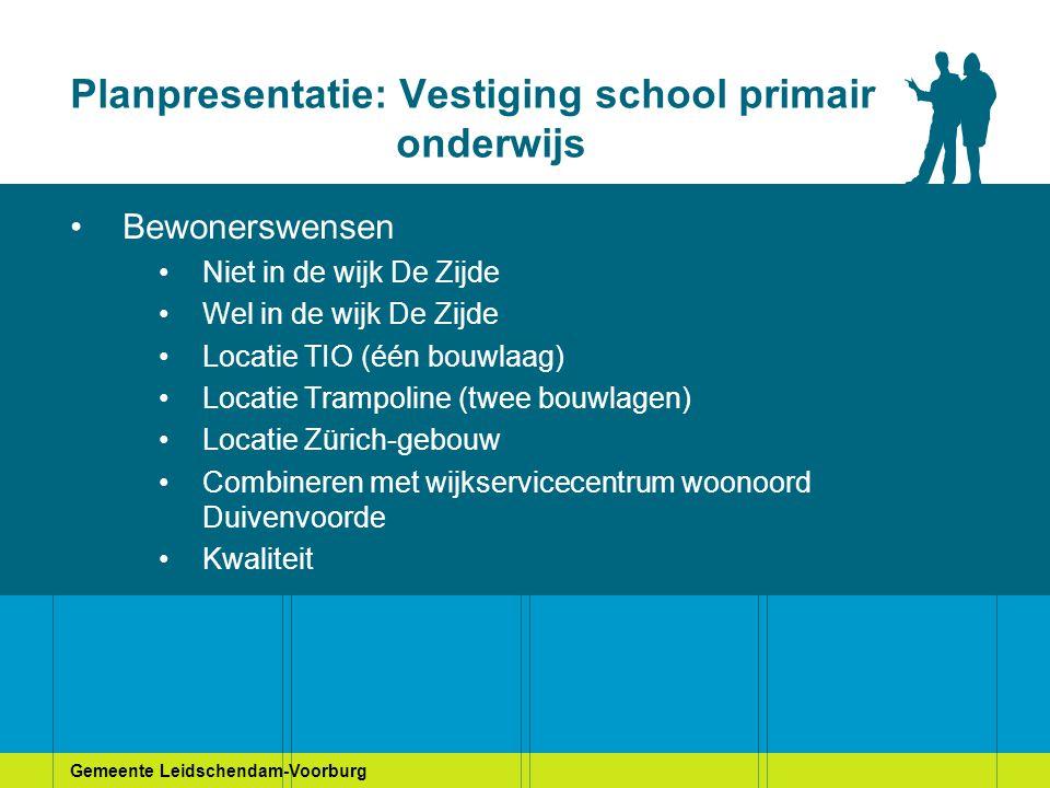 Planpresentatie: Vestiging school primair onderwijs