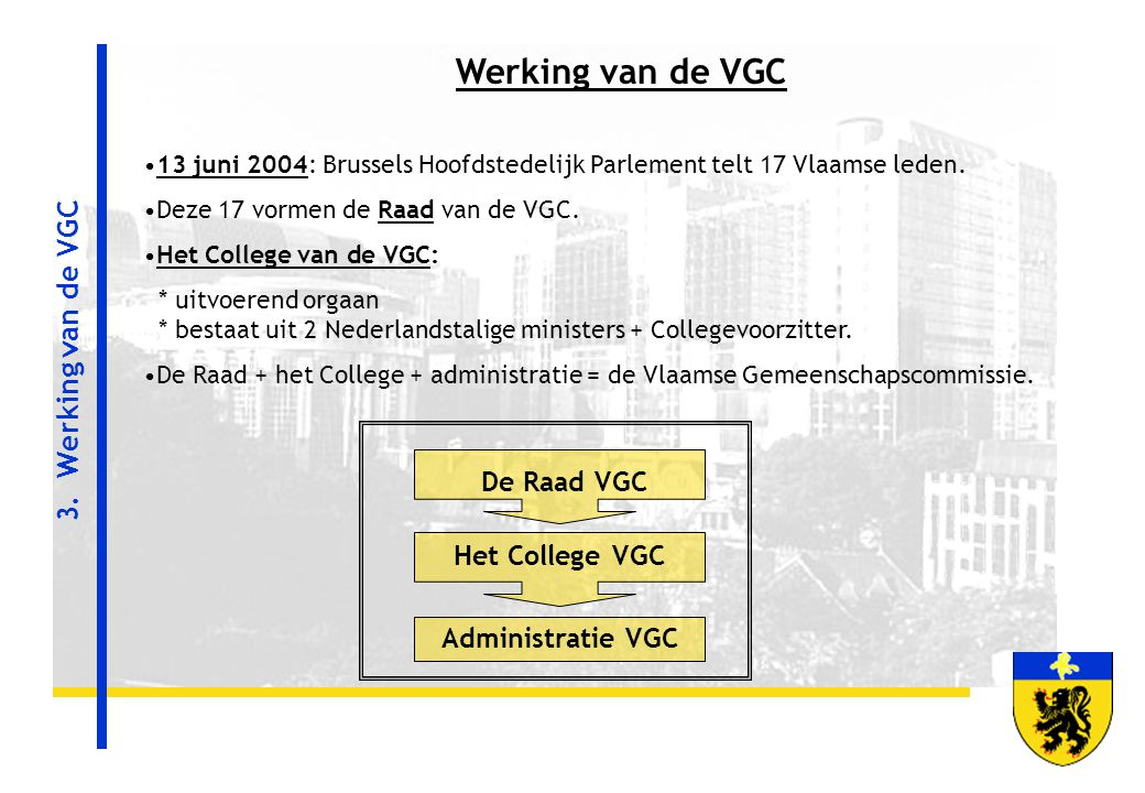 Werking van de VGC 3. Werking van de VGC De Raad VGC Het College VGC