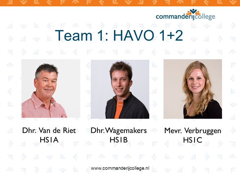 Team 1: HAVO 1+2 Dhr. Van de Riet HS1A Dhr. Wagemakers HS1B