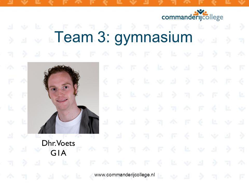 Team 3: gymnasium Dhr. Voets G1A www.commanderijcollege.nl