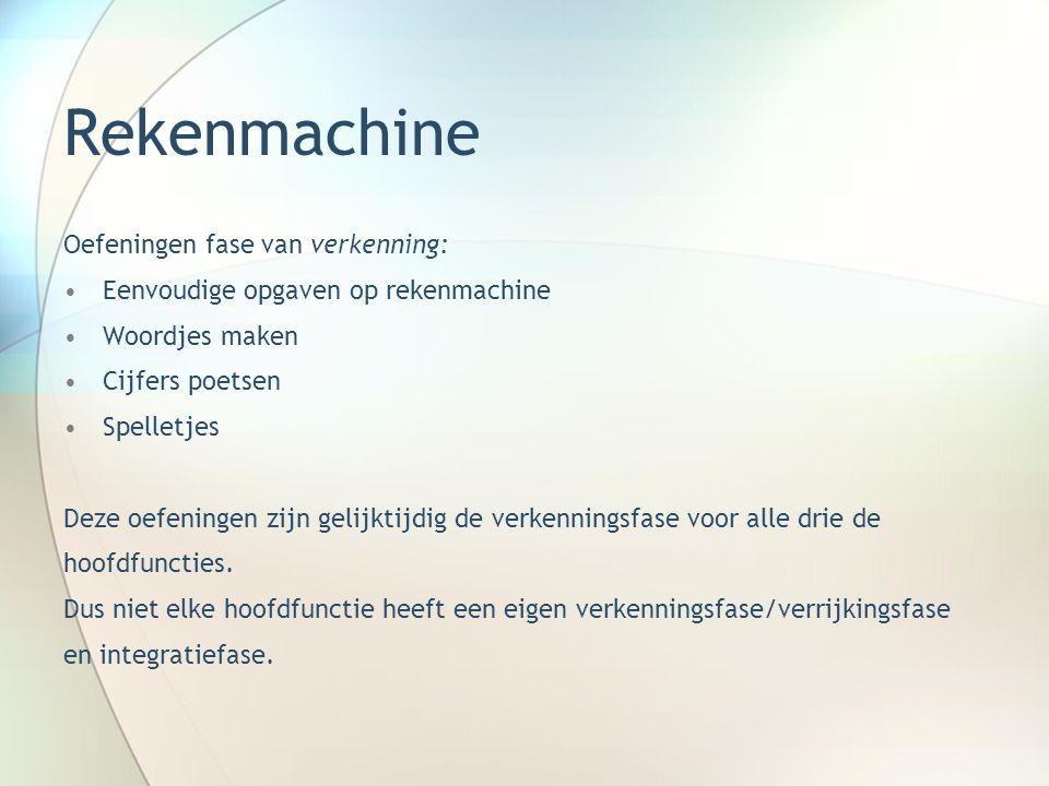 Rekenmachine Oefeningen fase van verkenning: