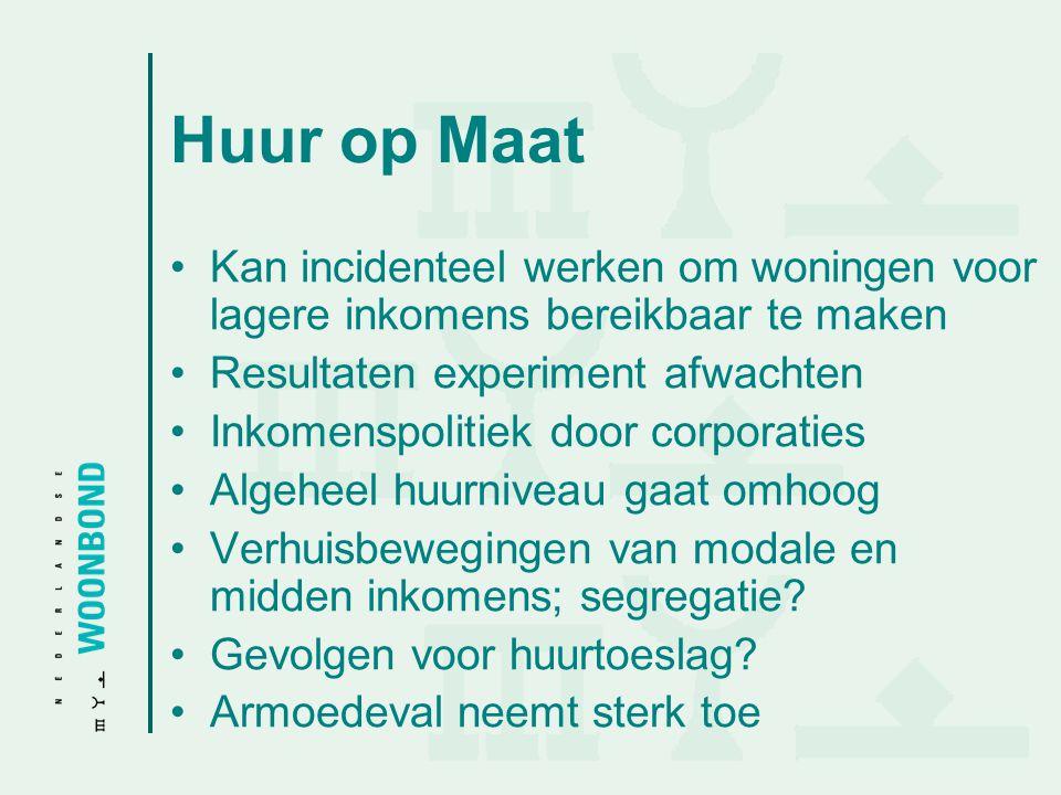 Huur op Maat Kan incidenteel werken om woningen voor lagere inkomens bereikbaar te maken. Resultaten experiment afwachten.