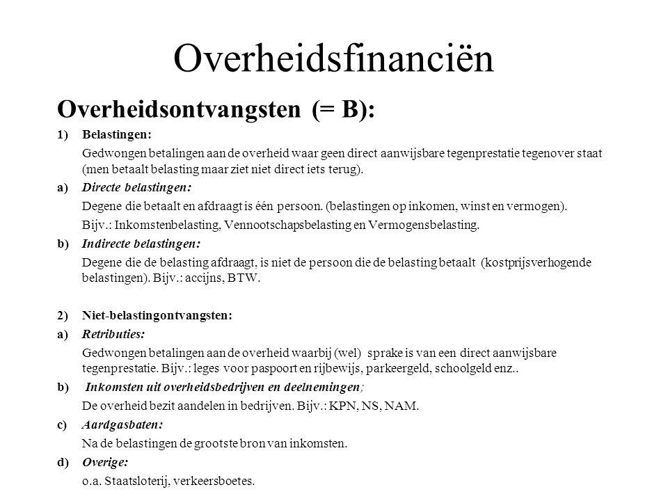 Overheidsfinanciën Overheidsontvangsten (= B): 1) Belastingen: