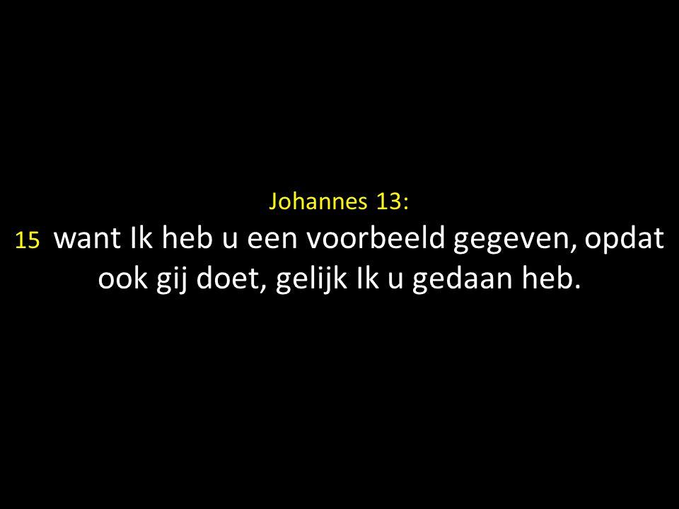 Johannes 13: 15 want Ik heb u een voorbeeld gegeven, opdat ook gij doet, gelijk Ik u gedaan heb.