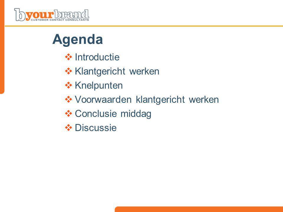 Agenda Introductie Klantgericht werken Knelpunten