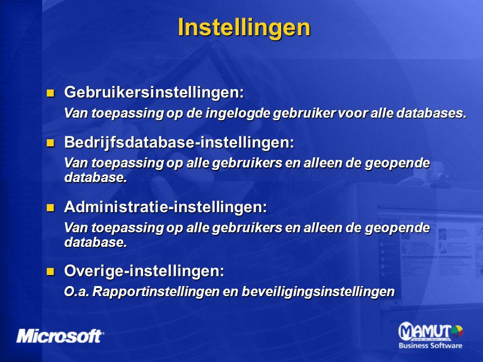 Instellingen Gebruikersinstellingen: Bedrijfsdatabase-instellingen: