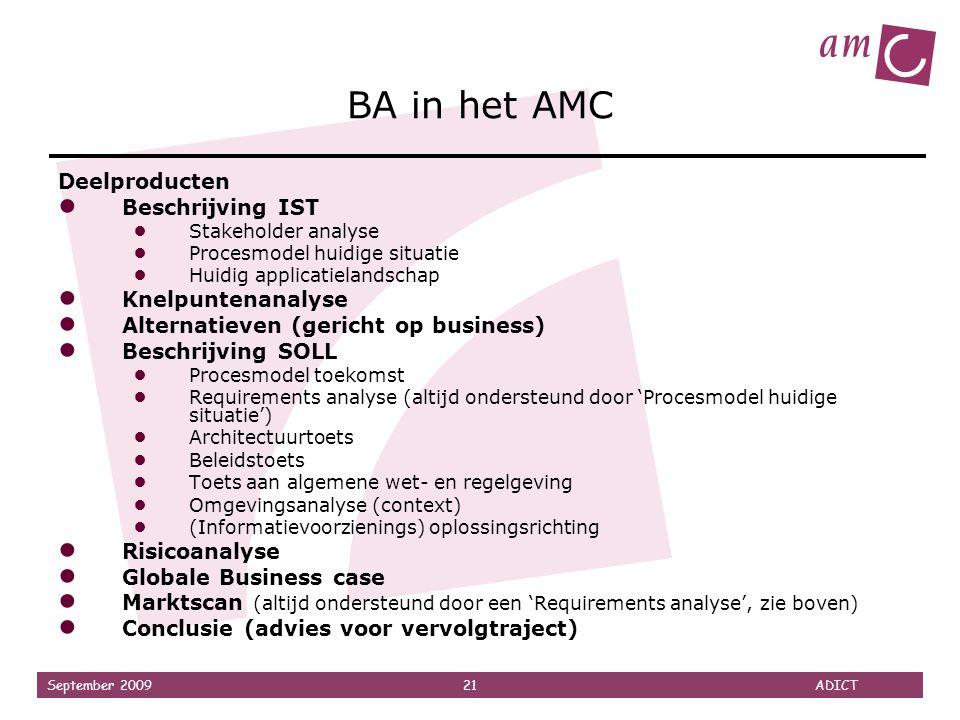 BA in het AMC Deelproducten Beschrijving IST Knelpuntenanalyse