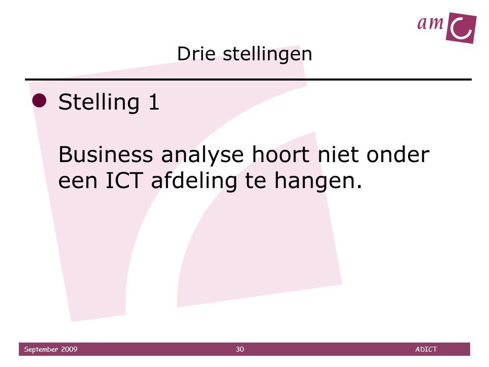 Drie stellingen Stelling 1 Business analyse hoort niet onder een ICT afdeling te hangen.